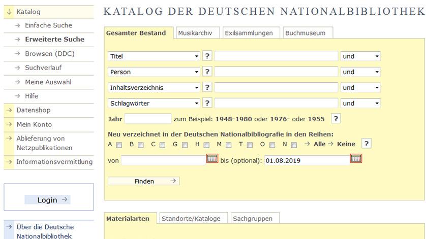 Screenshot vom Suchformular des Katalogs der Deutschen Nationalbibliothek