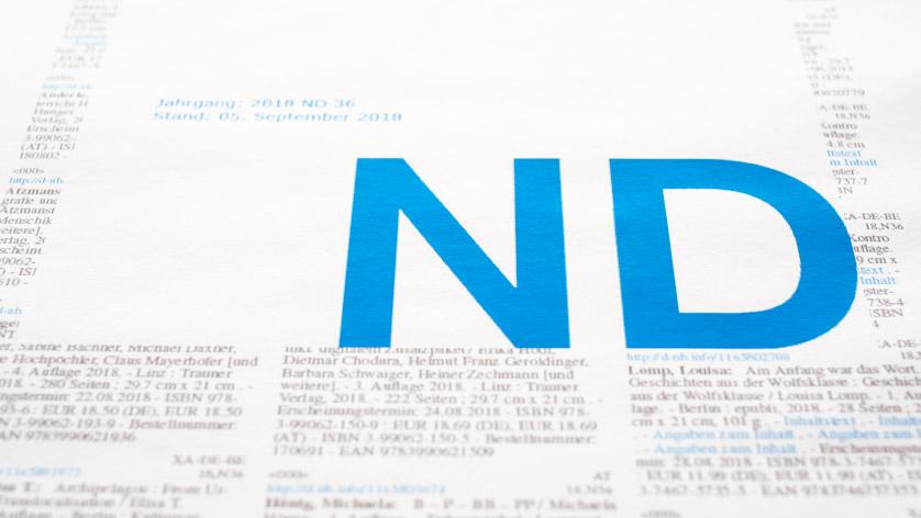 Titelblatt und Einzelseite des Neuerscheinungsdienstes der Deutschen Nationalbibliothek