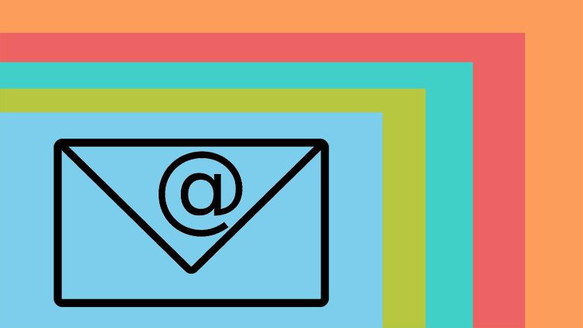 Briefumschlag und E-Mail Symbol auf den Bereichsfarben der Website (Grafik)