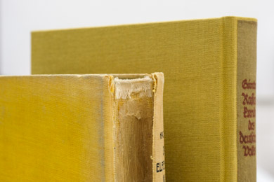 Der stark beschädigte Rücken eines Buches im Vorher-Nachher-Vergleich der Restaurierung