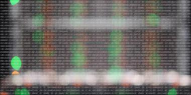 Zahlenreihe aus Nullen und Einsen über unscharfen grünen und roten Lichtern