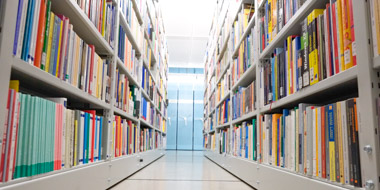 Bücher in Magazinregalen der Deutschen Nationalbibliothek in Frankfurt am Main