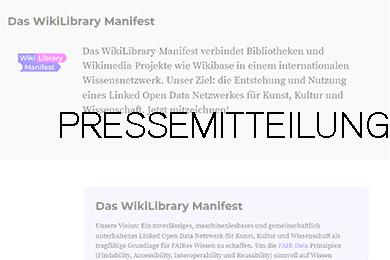 """Ausschnitt aus der Webseite """"Das WikiLibrary Manifest"""" darübergelegt das Wort Pressemitteilung"""