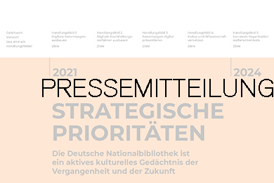 Cover Strategische Prioritäten 2021-2024; darüber gelegt das Wort Pressemitteilung