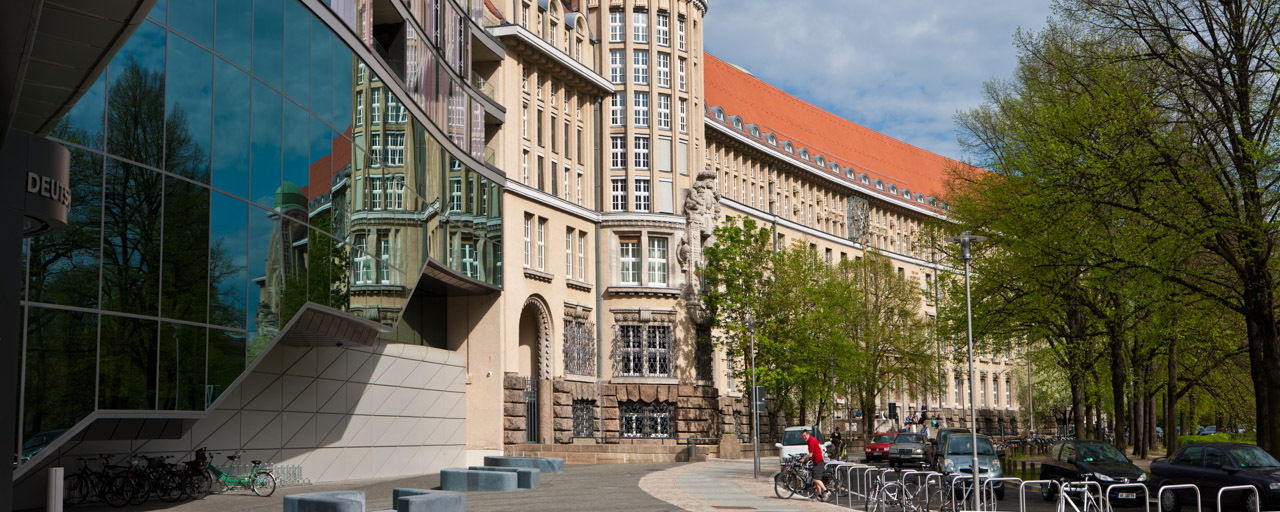 Exterior of the German National Library in Leipzig; the change in façade marks where the fourth extension joins on to the historic library building at Deutscher Platz