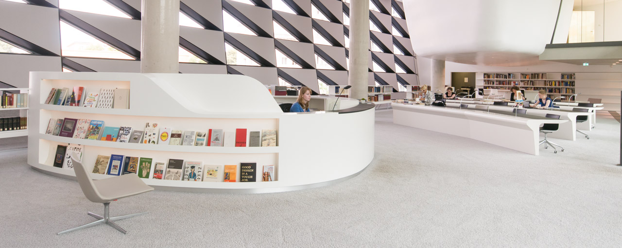 Opened in 2012, the reading room of the German Museum of Books and Writing at the German National Library in Leipzig is all in white  (in the style of the New Objectivity)