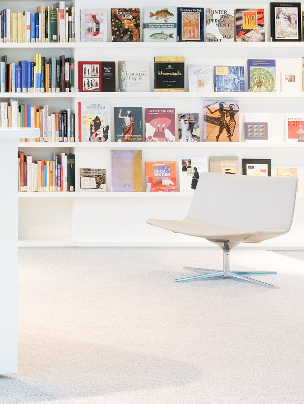 In the museum reading room of the German National Library in Leipzig; reading chair with bookshelf in the background