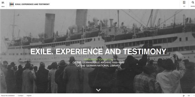 """Startseite Virtuelle Ausstellung """"Exil. Erfahrung und Zeugnis"""""""